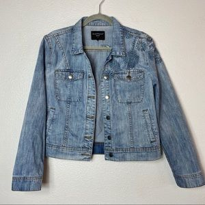 Embroidered jean jacket small
